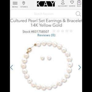 Kay Jewelers Cultured Pearl Bracelet and Stud Set